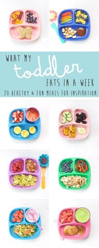 A true look at What My Toddler Eats in a Week. 20 healthy and fun meals to get ideas for your own little one. Also included are links to recipes, advice on how