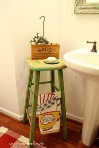 Frugal way to add some flair to your small bathroom. I have 2 in my bathroom in front of a window with my summer flower pots on them. I'll take them outside after the last frost!