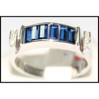 Jewelry Diamond Blue Sapphire Gemstone 18K White Gold Ring [RQ0036]