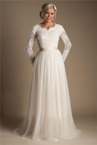 Ivory A-line Beaded Lace Tulle Modest Wedding Dresses With Long Sleeves Scalloped Neck Buttons Up Back Full Sleeves Long Bridal Gowns Modest Wedding Dresses Modest Wedding Dresses Wedding Dresses With Sleeves Online with $208.32/Piece on Totallymodest'...