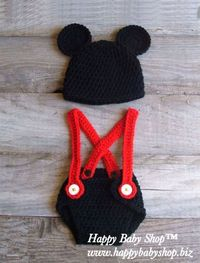 DIAPER COVER WITH SUSPENDER + MICKEY MOUSE HAT MC02 (BOY) Sizes: 0-3M, 4-6M