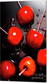 Toffee Bar Canvas Art   Creative food photography on handmade red candy apples or apple taffy creatively splashed on reflective dark background. Food artwork   #blackred #canvasdecor #candyapples #kitchendesign #walldecoration #redblack #interiorart #wall...