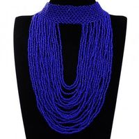 Fashion Jewelry Full Deep Blue Resion Collar Charm Cluster Pendant Statement Necklace New