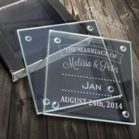 Engraved Glass Coasters Wedding Favours