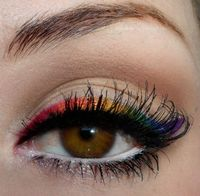 rainbow liner! BH Cosmetics 120 Eyeshadow Palette, version 2, various colors mixed with fix spray to create rainbow effect liner Love & Beauty Glitter Liner on lower lash line