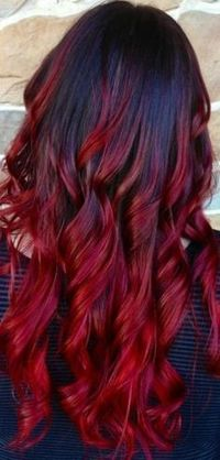 Red ombre hair.