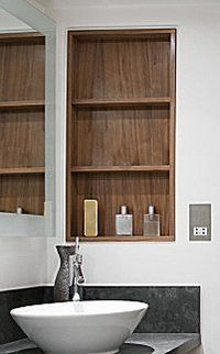 recessed bathroom shelves instead of a medicine cabinet