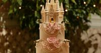Gorgeous Disney wedding cake topped with a white chocolate castle HOLY MOLY I LOVE IT!!