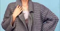Jacket. Sizes from 40 to 56. Size 40-42 / 44-46 / 48-50 / 50-52 / 54-56 You will need: 15/16/17/18/20 skeins of gray yarn Phildar Ne ...
