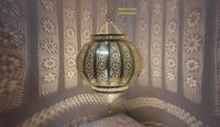 Spherical Moroccan Ceiling Lampshade Lamp, Brass Pendant Hanging Light shade, Marrakesh Lights and Lighting - Moroccan Decoration $170.00