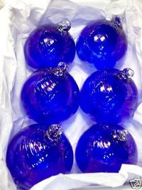 SET OF 6**HAND BLOWN**COBALT BLUE**GLASS ORNAMENTS