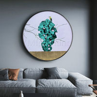 Gold leaf Stone and bird art framed painting Abstract Painting on canvas Original art Emerald green painting wall pictures flower painting $609.00