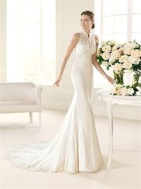 Exclusive straps high neck sweep train lace mermaid wedding dress