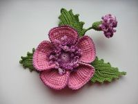 flower brooch, crochet flowers and brooches.