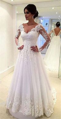 Princess A Line Scalloped Neck Long Sleeve Tulle Lace Wedding Dress