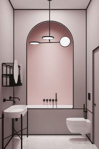 Modern pink bathroom in a Parisian apartment by architect Harry Nuriev from Crosby Studios.