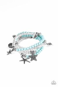 Paparazzi Ocean Breeze - Blue Bead Crystal Bead Layered Starfish Floral, Seashell Silver Charm Bracelet $5.00