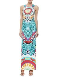 EMILIO PUCCI Sleeveless Multicolor Printed Column Maxi Dress