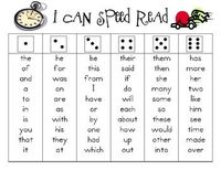 Students roll the dice then read short word list with speed & accuracy - uses 150 High Frequency Words for fluency practice (maybe do with a game board?)