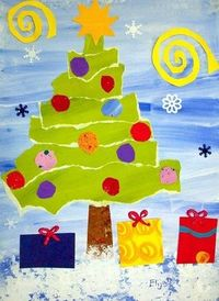 Paper Christmas Tree! paint background paper strips for tress (biggest to smallest) cut shapes for star and presents