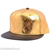 QUILTED SNAPBACK - GOLD BASEBALL HIP HOP FITTED FLAT PEAK HAT ERA