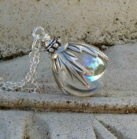 Crystal Ball Silver Pendant Necklace, Woodland, Gift for Her, Long Chain Pendant