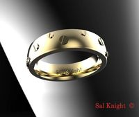 Men's wedding bands 6mm wide 14 karat white and yellow gold anniversary band gift design by Sal Knight © $175.00