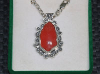 Rhodochrosite silver pendant necklace red gemstone pendant one of a kind jewelry silver chain rod1P $235.00