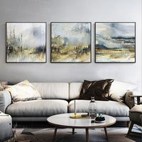Gold art Set of 3 wall art mountain abstract painting on canvas Framed wall art Original wall Pictures black blue painting 3 pieces wall art $163.53