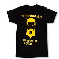 """THIGHBRUSH® TACTICAL - ARMED FORCES COLLECTION - """"An Army of Tongue"""" Men's T-Shirt - Black and Gold"""