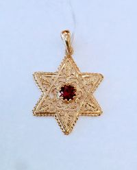Star of David, Gold filigree pendant, with Ruby in the center, jewish jewelry, Judaica, https://www.etsy.com/il-en/listing/624654830/star-of-david-gold-filigree-pendant-with?ref=shop home active 7 #tiffany #dior #gucci #cartier #rolex #chanel #ysl #loui...