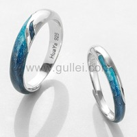 Gullei.com Engraved Anniversary Rings Gift for Him and Her (Adjustable Size)