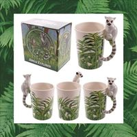 Ceramic Jungle Mug with Lemur Shaped Handle  Food safe but cannot be used in the dishwasher or microwave.  Made from ceramics Dimensions: Height 14cm Width 11.5cm Depth 8cm