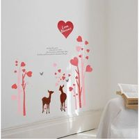 """Description: Size : 59""""x 57"""" Category : Wall Quotes Sticker Material : Vinly Wall Sticker Room :bedroom, living room Color:Rose Red, Pink, Coffee Brown Includes:Love Tree, Deer, Words"""