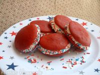 I'm going to duplicate these for July 4th - with red velvet cake and cream cheese frosting for filling. Can't wait. :-)