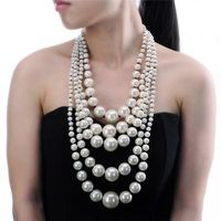 Fashion Gray Resin White Pearl Chain Choker Chunky Statement Pendant Bib Necklace New