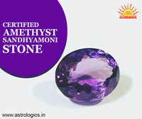 Certified Amethyst - Sandhyamoni Stone  Amethyst Stone is a powerful and protective stone. It guards against psychic attack, transmuting the energy into love and protecting the wearer from all types of harm, including geopathic or electromagnetic stre...