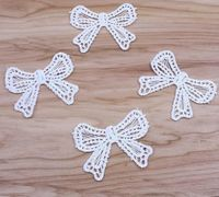 Pack of 10 White Embroidered Bows. 4cm x 5cm Wedding Dress Appliques £2.49