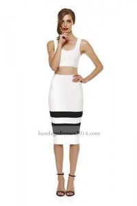Black White Two Pieces Bandage Dresses Cheap