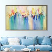 Abstract painting acrylic painting on canvas art large Painting blue green Wall Pictures quadros home Decor Hand Painted cuadros abstractos $89.00