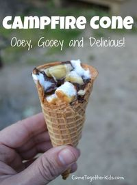 Campfire cones -- a different version of S'mores. Smear inside of sugar cone with peanut butter, add chopped bananas, mini marshmallows, and chocolate chips. Wrap in foil and put in coals for 5 to 10 minutes, turning frequently. When it is melted and ...