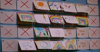 """Wow... Using index cards... make a calender... Write an """"X"""" on the days there is no school... On School Days, have a special helper draw a picture and staple it on top of the index card on the board. At the end of the day, the same special helpe..."""