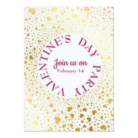Gold Hearts Circled 2 Modern Valentine Party Invitation