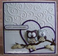 5/20/2009; debby at 'A Scrapjourney' blog; Owl Anniversary using 'dream2stamp' stamps + other products