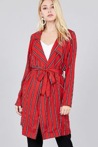 Ladies fashion long sleeve notched collar w/waist belt multi striped long woven jacket $35.00 (20% off with CODE: BESTDEAL)