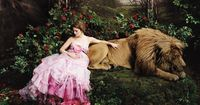 Drew Barrymore as Belle from Beauty & the Beast (Annie Leibovitz's Disney Dream Portraits for Vogue).