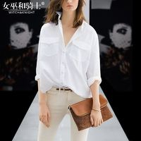 Oversized Vogue Pocket White Summer Casual 9/10 Sleeves Blouse Top - Bonny YZOZO Boutique Store