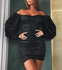 Off Shoulder Ruched Satin Bodycon Dress-Black at www.fashionsqueen.com