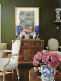 Green paint + antiques: Living room by Jeffrey Bilhuber by xJavierx, via Flickr