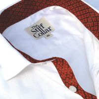 Crimson Red Silk Inlay on White Satin Shirt �'�1499.00